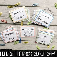 """""""Team work makes the dream work!"""" Students will love using their listening, reading and french speaking skills to complete this french vocabulary game as a team! Add a timer for an added challenge! French: I Have, Who Has? Sight Word Card Game {J'ai...Qui a?} Details:► TWO versions are included ‣ 1... Vocabulary Building, Vocabulary Games, Communicative Competence, Language Immersion, Language Proficiency, Reading Levels, Sight Words, Student Work, Fun Learning"""