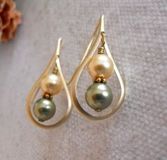 Green and Gold Drop Earrings Dangle earrings Green pearls Gold earrings Pearl earrings wedding earrings gift 17.00 USD Available at http://ift.tt/1NM3wVS