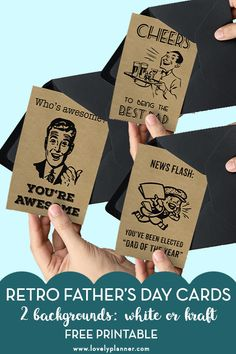 Free Printable Father's Day Cards. Matching wine bottle gift tags Printable Cards, Printable Planner, Free Printables For Home, Wine Bottle Gift, Fathers Day Cards, Holidays And Events, Gift Tags, Banner, Stationery