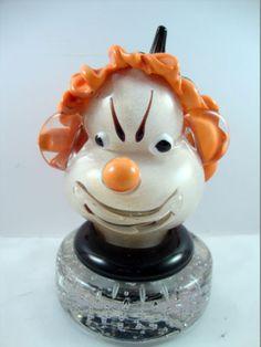 Alfredo-Barbini-Paperweight-Blown-Glass-Clown-Head-Murano-Italy-Bullicante-Base