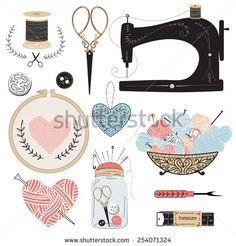 Vintage vector tailor's tools - scissors, measuring tape, mannequin, tambour, balls of yarn etc.  - stock vector