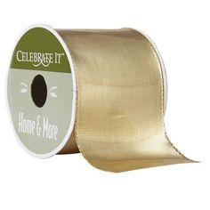"Celebrate It 360° Gold Lamé Wired Ribbon, 2 1/2"""