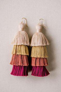 Tiered Tassel Earrings in Red Neutrals Bridal Earrings, Tassel Earrings, Bridesmaid Jewelry, Bridesmaid Gifts, Fall Wardrobe Essentials, Boho Ideas, Layered Jewelry, Purple Ombre, Fall Jewelry