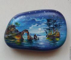 Купить ночь ручная роспись - разноцветный, акрил, камни, ручная работа, камень, акриловые краски
