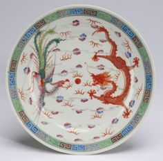 "Chinese dragon and phoenix plate, 9""w"
