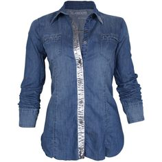 Blank Denim Foil Shirt in Double Dip ($130) ❤ liked on Polyvore