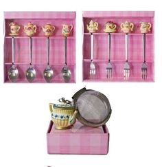 For Art's Sake:Fork & Spoon Tea Set   Fork & Spoon Cake Tea Cup Set Tea Strainer #ForArtsSake