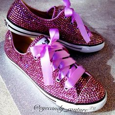 Blinged Out Converse with Ribbon Shoe Strings