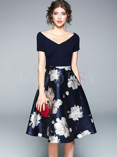 V-Neck Short Sleeve Floral Print Patchwork Women's Skater Dress Navy Party Grad Dresses, Cute Dresses, Beautiful Dresses, Casual Dresses, Skater Dresses, Bridesmaid Dresses, Formal Dresses, Stitching Dresses, Daily Dress