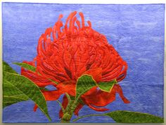 Waratah, Telopa speciosissima, quilt by Beth Miller (Australia).  Photo by Mary & Patch: 2014 Carrefour Européen du Patchwork, St-Marie aux Mines, France /6