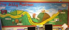 Our Reception classroom display for 'The Jolly Postman'! This display helped the children to retell the story in the correct order. It was super interactive and really captured the children's imagination! Teaching Displays, Class Displays, Classroom Displays, Eyfs Classroom, Primary Classroom, Classroom Ideas, Classroom Organisation, Classroom Design, Jolly Christmas Postman