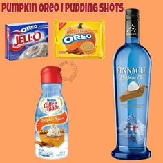 Pumpkin Oreo I Pudding Shots - See full recipe, register, save your favorites, s. - Party favors to make - Oreo Pudding Shot Recipes, Jello Pudding Shots, Oreo Pudding, Caramel Pudding, Pumpkin Pudding, Drink Recipes, Cookies Oreo, Spice Cookies, Caramel Apple Martini