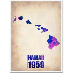 Trademark Fine Art Hawaii Watercolor Map Canvas Art by Naxart, Size: 35 x 47, Multicolor