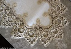 """Delicate Gold Trim Runner Lace 65"""" x12"""" Shelf Runner Mantle Scarf Doily  #Lace"""