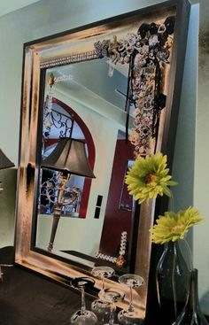 Image Of Embellished gorgeous mirror on Sale New Piece Wall Art Steampunk