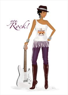 You Rock Greeting Card - art & fashion illustration card perfect for Birthday, Congrats or Thank You.