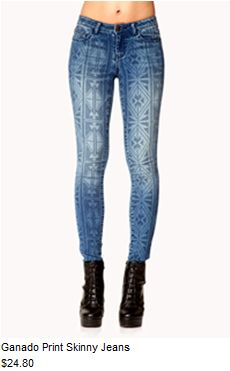 Ganado print skinny jeans #f21