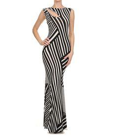 Love this Black & White Stripe Cutout Maxi Dress by Karen T. Design on #zulily! #zulilyfinds