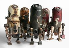 Ashley Wood's World War Robot Toys by ThreeA, shots of the White Engineer, Shadow Guard, Suicide Club, Medic amd EMGY Armstrongs, from the Bambaland Armstrong 8-Pack.