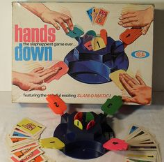 Hands Down Vintage Ideal Toy Game by Christian Montone, via Toys Vintage Toys 1960s, 1960s Toys, Retro Toys, Vintage Room, 1980s, My Childhood Memories, Childhood Toys, Sweet Memories, School Memories