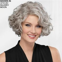 Meryl WhisperLite® Wig by Paula Young® is an elegant mid-length wig with face-. Meryl WhisperLite® Wig by Paula Young® is an elegant mid-length wig with face Short Hairstyles For Thick Hair, Curly Bob Hairstyles, Short Hair Cuts, Simple Hairstyles, Long Haircuts, 1950s Hairstyles, Ethnic Hairstyles, Hairstyles 2018, Grey Curly Hair
