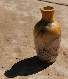 Horsehair Raku Vase yellow black and white  by muddywaterscc, $45.00