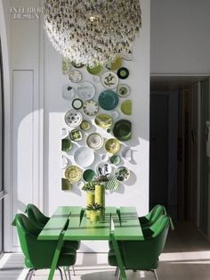 Love how the dishes are cut to give the illusion of a framed installation.