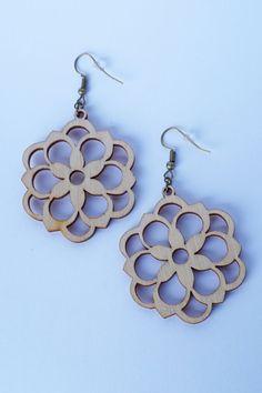 Filigrana flor corte madera pendientes vendimia joyas mujer