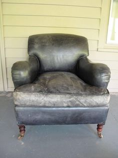 George Smith Charcoal Leather Armchair And Ottoman