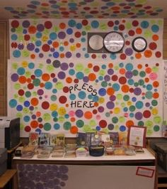 Dot display--whenever kids read a book they can put the name of it on a dot and place it on a display wall--great idea!
