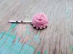 Pink blush hair clip small pink flower flower
