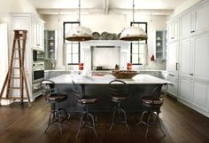 eclectic kitchen design by architect D. Stanley Dixon and interior designer Betty Burgess. Industrial Kitchen Design, Eclectic Kitchen, Rustic Industrial, Design Kitchen, Industrial Kitchens, Industrial Lighting, Industrial Industry, Kitchen Interior, Industrial Furniture