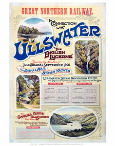 Ullswater Great Northern Railway #Vintage #Rail #Railway #Train #Poster #Posters #Prints #Print #Art #UK #Britain #British #Old #Travel #Cumbria www.vintagerailposters.co.uk