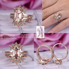 Emerald Cut Morganite Engagement Ring Sets Alexandrite Tiara Ring Guard 14K Rose Gold 6x8mm