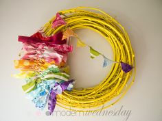Painted Grapevine wreath, knotted fabric scraps and fabric scrap bunting. Util Wednesday Calls