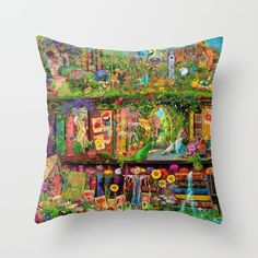 The Secret Garden Book Shelf Throw Pillow by Aimee Stewart - Cover x with pillow insert - Indoor Pillow Down Pillows, Throw Pillows, Secret Garden Book, Poplin Fabric, Pillow Inserts, All The Colors, Bookshelves, Decor Styles, Hand Sewing