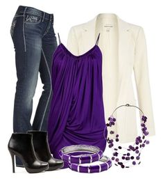 I like the purple blouse. Would have to be paired with a great cardigan, blazer, or jacket