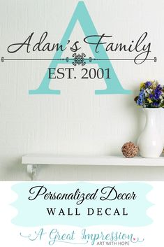 Personalized home decor. This family decal is completely custom to enhance your space Personalized Decor, Wall, Wall Decor, Personalized Wall, Color Options, Family Decals, Personalized Wall Decals, Home Decor, Home Wall Decor