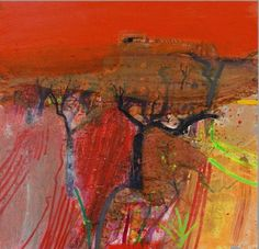 'Winter Almonds' by Barbara Rae Environmental Structure Creative Landscape, Pastel Landscape, Abstract Landscape, Abstract Art, Seascape Paintings, Landscape Paintings, Barbara Rae, Glasgow School Of Art, Winter Painting