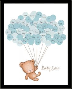 Looking for a unique guestbook for your teddy bear baby shower? Guests sign their names and a short note on the included balloons and attach