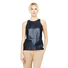 Leigh Leather & Silk Top - at Club Monaco