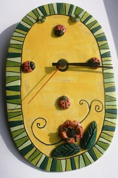 Beautiful ceramic wall clock  for luck ... by GUDAR on Etsy, €56.00