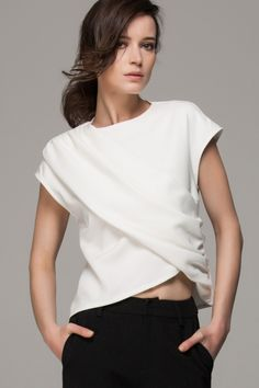 Front Row Shop Crop top with asymmetric front