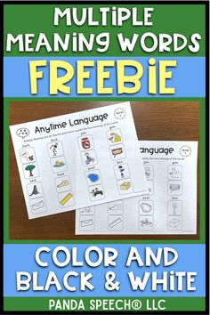 FREE teaching visual for Multiple Meaning Words! Color and Black & White. Speech therapy, ELA, English Best Picture For career ideas for women For Your Taste You are looking for something, and it is g Vocabulary Activities, Speech Therapy Activities, Language Activities, Articulation Activities, Speech Language Pathology, Speech And Language, Language Arts, Multiple Meaning Words, Receptive Language