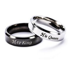 Her King and His Queen Stainless Steel Couple Promise Rings  - 30 Day Money Back Guarantee + Free World Shipping! (USA Customers also receive free online order tracking). king rings, queen rings, promise rings for her, promise rings for couples, promise rings for him, couple rings, matching rings, gifts for him, valentine's gifts, valentines day, birthday gifts for boyfriend, birthday gift for girlfriend, couple jewelry