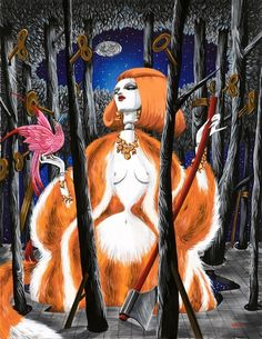 Richard Gray - Vixen - 2011 - Gouache and ink on stretched paper - 48 x 38 cm