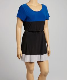 This Royal Blue & Black Belted Scoop Neck Dress - Plus is perfect! #zulilyfinds - skirt needs to be longer for my legs but love this.