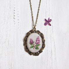 2nd Anniversary Gift For Her. Lilac Necklace. Cotton Wedding Anniversary Gift. Lilac Statement Necklace. Bronze Wedding…