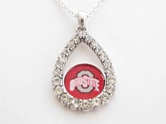 Ohio State Buckeyes NCAA Teardrop Clear Crystal Silver Necklace