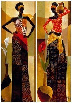 Art gallery for African Culture artwork, abstract art, contemporary art .African Art gallery for African Culture artwork, abstract art, contemporary art . image - African Beauties Giclee Print by Mark Chandon at EDMUNDO MACHADO Tutt'Art@ Contemporary Art Daily, Modern Art, Africa Painting, Afrique Art, African Art Paintings, Easy Paintings, Art Africain, African American Art, African Culture